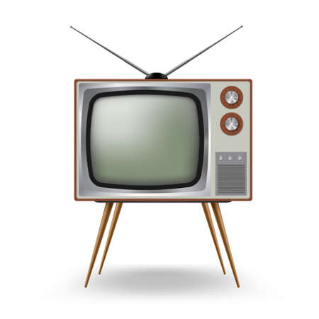 TV old-fashioned four legged with antenna. Outmoded television. Retro household device. Vektorové ilustrace