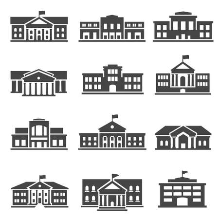 School, university bold black silhouette icons set isolated on white. College buildings.