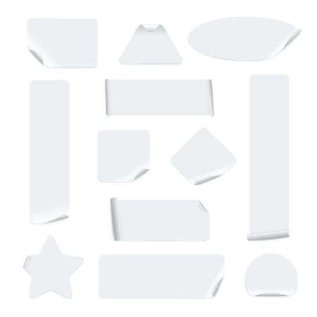 Stickers of different shapes realistic templates set. Sticky circle, square, rectangle, oval, triangle.