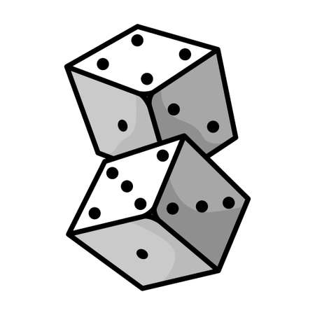 Dice, small cubes for game with different number of spots