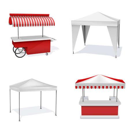 Promotion counters outdoor realistic set. Party, marquee tents. Canopy.
