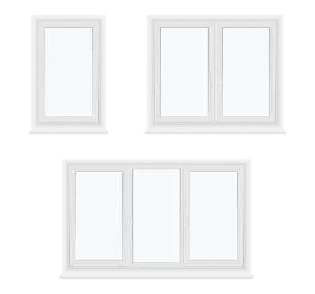 Windows plastic single, double, three leaf closed models realistic set. Glazing, installation concept.