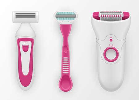 Razors, epilator for women realistic set. Shaving personal hygiene female accessories.  イラスト・ベクター素材