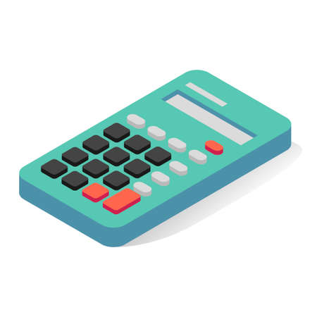 Calculator isometric icon. Electronic device for office, school. Equipment for calculating numbers.