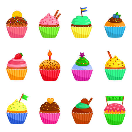 Cupcakes icons set. Muffins decorated with cookie, sprinkles,, flag, berries, candle, stars.