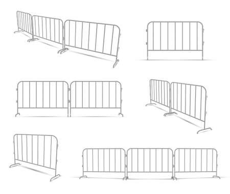 Barriers work zone, pedestrian, construction realistic set. Metal lattice fence. Иллюстрация