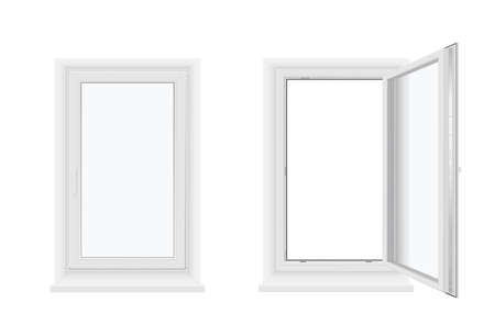 Single plastic windows open and closed with sill realistic templates set. Pvc facade constructions.