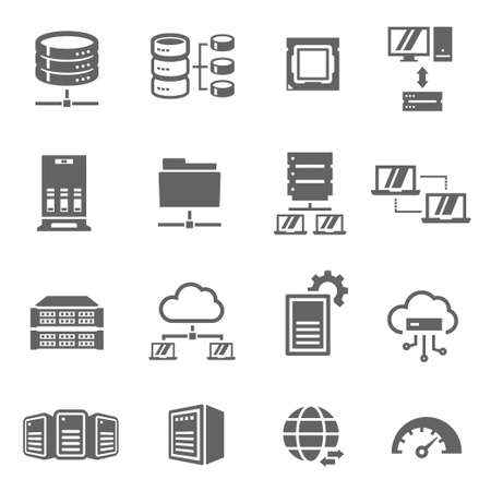 Server and local network bold black silhouette icons set isolated on white. Cloud storage, hosting. Vecteurs