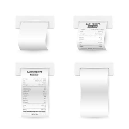 Till receipts and white empty printed templates realistic set. Sales financial confirmation blanks.