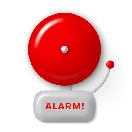 Alarm bell red realistic icon. Fire safety signal, warning, alert. Security system.