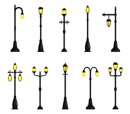 Street lights with one, two, three lamps different design set. Lamppost. Lighting columns, poles. Vector Illustration