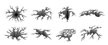Ground cracks illustration set on white.