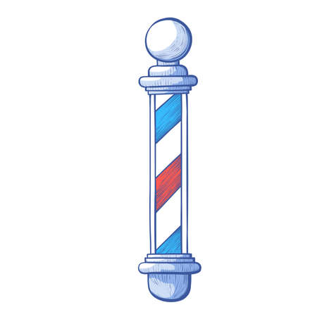 Barbers pole. Outdoor sign used to signify work place for cutting, shaving hairs, beards.