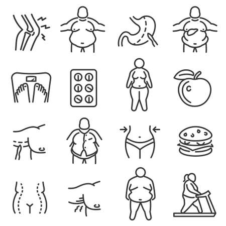 Obesity, adiposity, obeseness linear icons set isolated on white. Fatness, diet, sport outline pictograms.