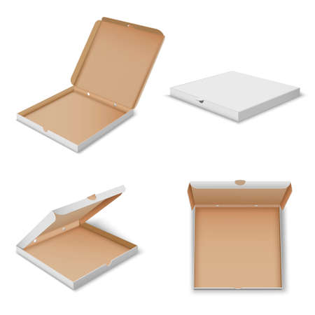 Pizza carton boxes realistic mockups set open, closed. Fastfood cardboard square packaging.