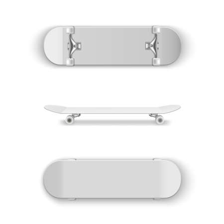 Skateboards with white surfaces in different angles. Riding, jumping sport equipment realistic set.