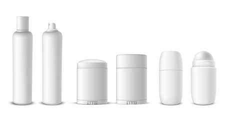 Antiperspirant bottles assortment spray, dry, roll on, stick realistic mock ups set. Deodorant packaging.