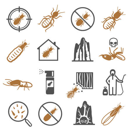 Termites, desinfector, pest control service bold black silhouette and line icons set isolated on white.