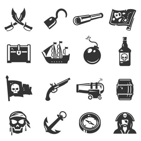 Pirates black icon set, adventure and travel collection