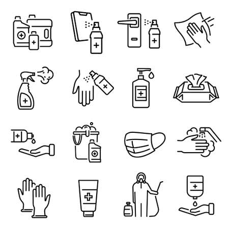 Disinfection, cleaning, sanification thin line icons set isolated on white. Antiseptic, cleanser, gloves.