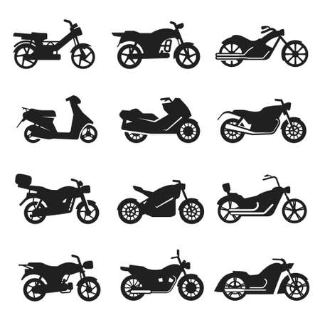Motorcycles, motorbikes variety bold black silhouette icons set isolated on white. Bikes, choppers.