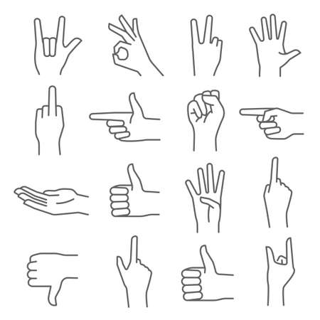 Hand gesture outline icons. Human body language signs. Thumb up, down, ok, stop, direction, peace.