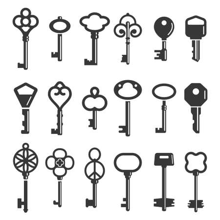 Key silhouettes modern and vintage ornamental icons set. Tools opening, closing locks.