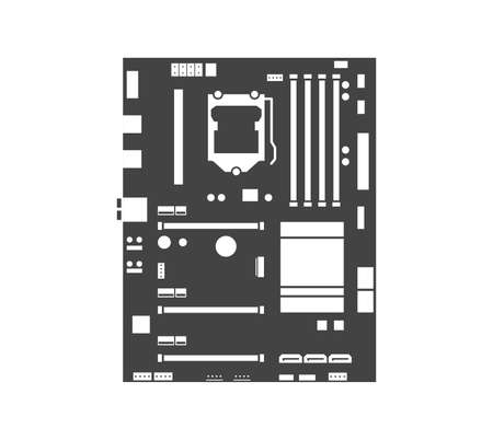 Motherboard icon. Computer hardware equipment. Chip board with microchips, semiconductor tracks. Vecteurs