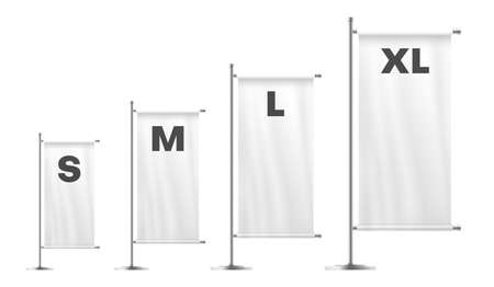 Flags of different lengths and widths white realistic mockups set. Outdoor ensign on metal pole.