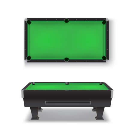 Pool table realistic set. Top, side view. Billiard, snooker equipment.