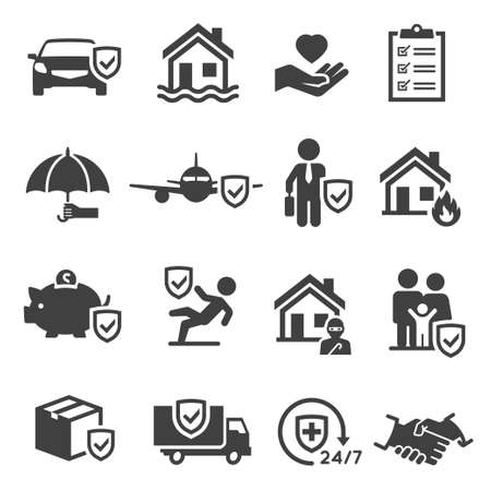 Insurance of health, life, auto, income, property bold black silhouette icons set isolated on white.  イラスト・ベクター素材
