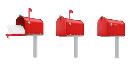 Mailboxes open, closed, with letters red realistic templates set. Outdoor drop boxes, street postboxes.