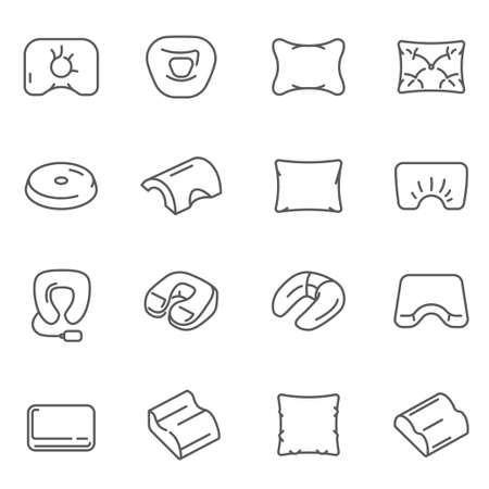 Pillows, cushions different shaped assortment thin line icons set isolated on white. 向量圖像