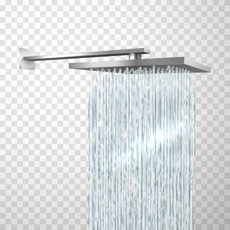 Shower head attached to wall in realistic style. Bathroom metal plumbing fixtures
