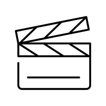 Monochrome simple clapperboard icon vector illustration outline linear video film production Vektorové ilustrace