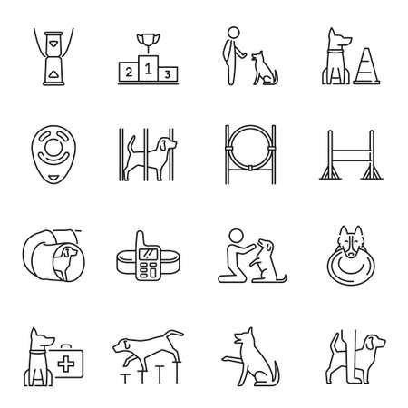 Monochrome dog training icon set vector illustration veterinarian center of domestic animal