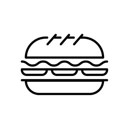 Burger thin line icon isolated on white. Cheeseburger, fast food, hamburger outline pictogram. Ilustracje wektorowe