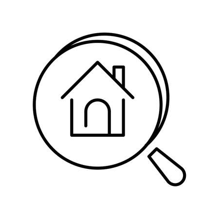 Monochrome simple apartment search icon vector illustration private house under magnifying glass
