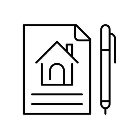 Linear simple lease agreement icon vector illustration rent or sale house contract paper and pen
