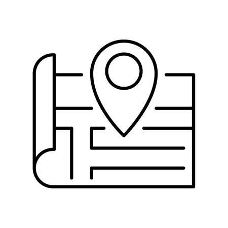 Contoured location pin on paper map icon vector illustration. Monochrome gps point route direction