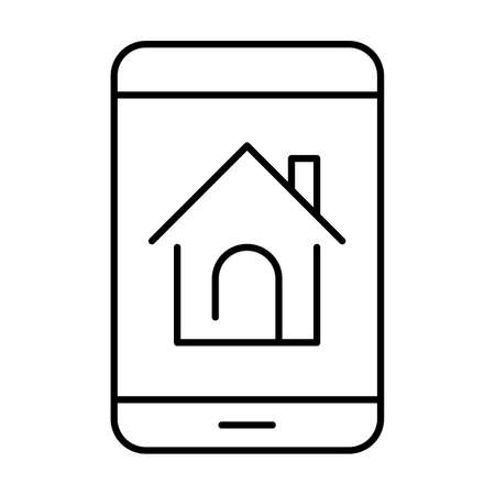 Monochrome mobile screen searching housing icon vector illustration. Home button real estate service