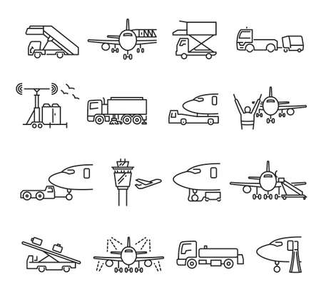 Collection of linear airport ground support icons vector illustration. Transport service machinery
