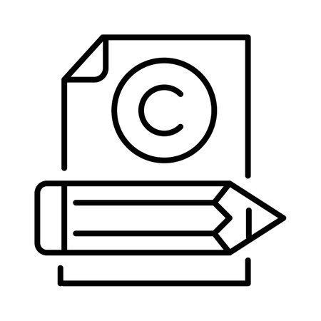 Monochrome copywriting icon simple design vector illustration intellectual literary content creating