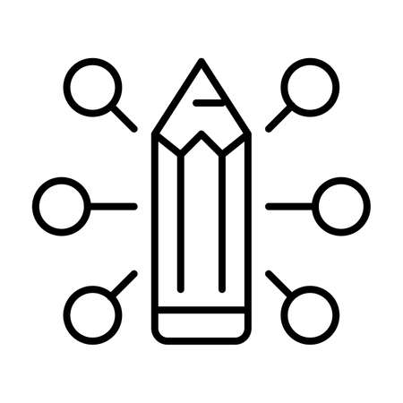 Monochrome experience sign icon vector illustration pencil with many various choice or achievement