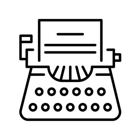 Typewriter line icon vector illustration vintage machine with paper sheet for text typing