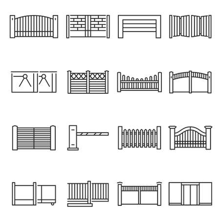 Monochrome gates and fences icon set vector illustration. Outline symbols of protection and security
