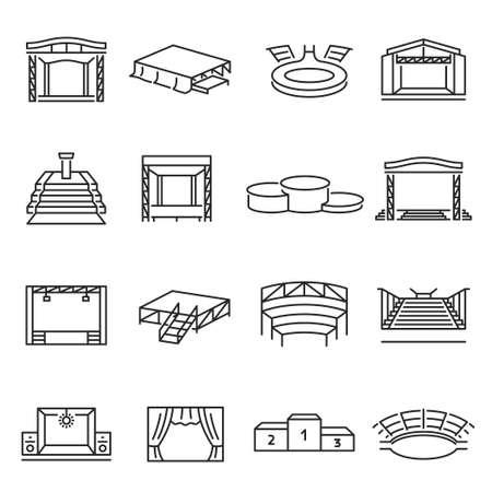 Monochrome collection of podium and stage icon vector illustration. Tribune or concert platform Vektorové ilustrace