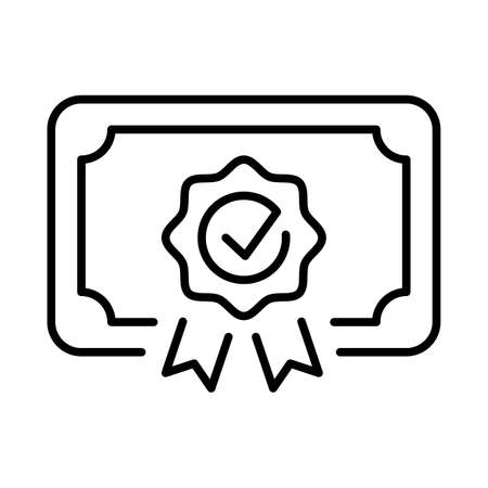 Monochrome certificate icon vector illustration. Qualification document or educational coupon