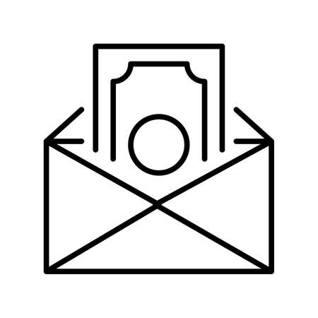 Salary in envelope icon vector illustration. Concept corruption, donation, savings and receive bribe