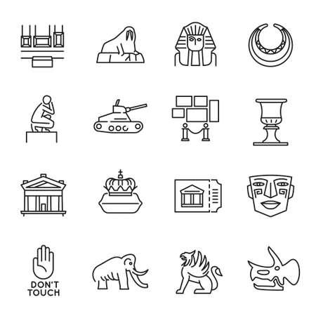 Monochrome simple museum art monuments icon set vector illustration antique culture